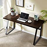 DYH Vintage Computer Desk, Wood and Metal Writing Desk, PC Laptop Home Office Study Table, Espresso 55 inch
