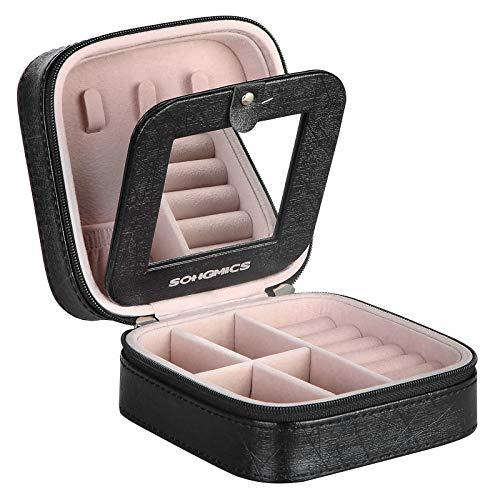Songmics klein reiskoffertje voor sieraden | Ideaal voor op reis, in je handtas of bagage | Met spiegel
