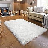 JOYFEEL Shag Faux Fur Rug, White Fluffy Sheepskin Area Rugs, 3' x 5' Non-Shedding Washable Soft Fuzzy Carpat for Bedroom Bedside Fireplace Sofa Decor