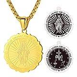 FaithHeart Collier Acier Doré Femme Medaille Bapteme Marie Or Pendentif Homme Vierge Marie Collier avec Medailles de la Vierge