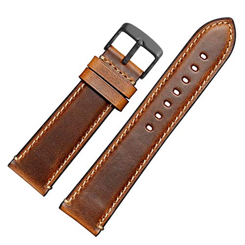 WOCCI 18mm 20mm 22mm 24mm Watch Band,Premium Saddle Style Vintage Leather Watch Strap