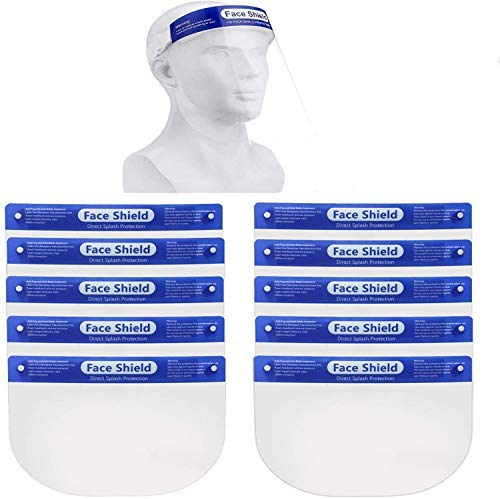 2 Pack | 5 Pack | 10 Pack Safety Face Shield, All-Round Protection Headband with Clear Anti-Fog Lens, Lightweight Transparent Shield with Stretchy Elastic Band (10)