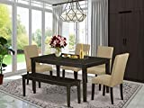East West Furniture 6Pc Rectangular 60' Table And Four Parson Chair With Cappuccino Finish Leg And Linen Fabric-Brown Color Plus 1 Bench, 6
