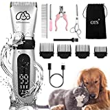 Pet Clippers Professional Dog Grooming kit Adjustable Low Noise High Power Rechargeable Cordless Pet Grooming Tools , Hair Trimmers for Dogs and Cats, Washable(IPX5), with LED Display.