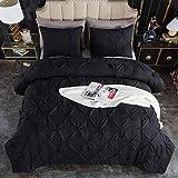 Andency Black Pinch Pleat Comforter Queen(90x90Inch), 3 Pieces(1 Pintuck Comforter and 2 Pillowcases) Pintuck Comforter Set, Microfiber All Season Down Alternative Bedding Set