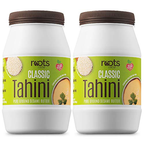 All Natural Sesame Tahini Paste | 16oz 100% Natural Pure Ground Sesame Seed Paste for Hummus, Tahini Sauce & Dressing | Certified Vegan, Kosher | Gluten Free, Peanut Free & Non-GMO (2 Pack)