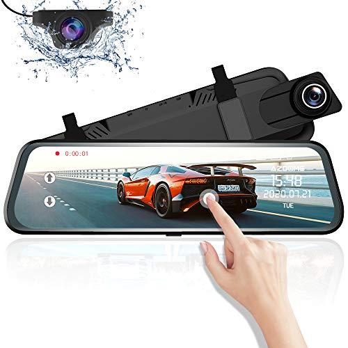 Specchietto Retrovisore Auto Dash Cam Streaming Media Con Schemo da 10 pollici, Dual Lens Dash-Cam con risoluzione 1080P 720P, G-Sensor Registrazione in Loop Monitor di Parcheggio Support GPS