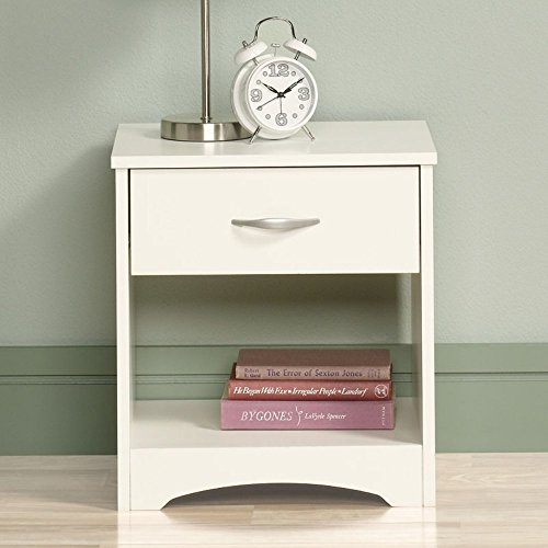 MODWAY Sheesham Wood Bed Side Table for Bedroom with Drawer (White Finish)