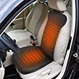 Sojoy Winter Seat Cushion for Car Usage Deluxe PU Warm Seat Cover Sitting Pad Bench Protector(Black) 44.8x20