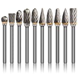 K Kwokker Tungsten Carbide Burr Set 1/8 Shank Diamond Files HRA85 Rotary Tool Accessory Kit, Drill Chucks Accessories for Dremel Rotary Drill Air Die Grinder for Metal Polishing, Wood Carving