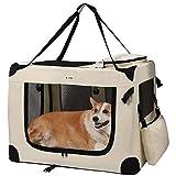 MC Star Transportin Perro Gatos Mascotas Plegable Portátil Impermeable Oxford Portador Bolsa de Transporte con tapete de vellón para Coche Viaje Beige XL