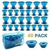 JANYUN 40 Pcs Blue Magic Silicone Hair Curlers with Bag
