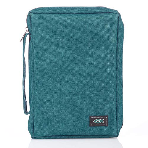 Canvas Bible Cover With Fish Symbol Appliqu, Teal, Large