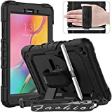 Timecity Samsung Galaxy Tab A 8.0' 2019 Case (Fit for SM-T290/T295/T297), Rugged Heavy Duty Protective Case with Rotating Stand, Samsung Tablet Cover with Screen Protector Handle Shoulder Strap, Black
