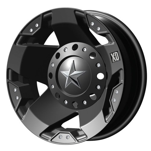 XD Series by KMC Wheels XD775 Rockstar Matte Black Dually Outer Wheel (17x6'/8x165.1mm, -134mm offset)