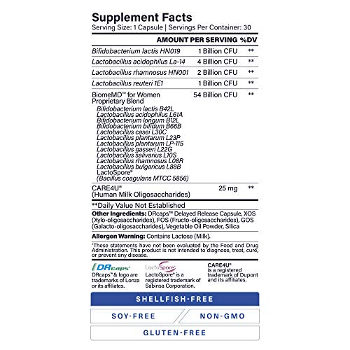 1MD BiomeMD Probiotics for Women - 62 Billion CFUs, 16 Strains with Prebiotics with HMO | Supports Vaginal & Urinary Health - Doctor-Formulated | 30 Capsules 4