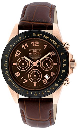 Invicta Men's Speedway 43mm Rose Gold Tone Stainless Steel and Brown Leather Chronograph Quartz Watch, Brown (Model: 10712)