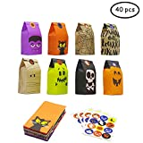 Bravo Sport Halloween Trick or Treat Goody Gags Paper Gift Bags, 8 Design, 40 pcs Party Favor Candy Bags