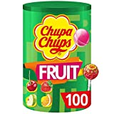 Chupa Chups - Tubo 100 Sucettes aux Fruits - Parfums Pomme, Fraise, Orange,...