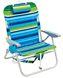Rio Beach Big Boy Folding 13 Inch High Seat Backpack Beach or Camping Chair, Green/Blue Stripe