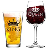 King and Queen Beer and Wine Glass Gift Set of 2 | Fun Novelty His and...