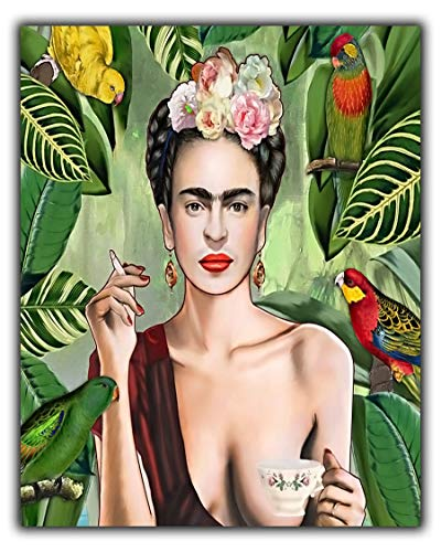 Frida Kahlo Con Amigos - Pintura al óleo para pared con marco de lona, 30'' x 24'' inch(76x 60 cm)-18mm depth