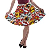 CowCow Womens Fun Pop Art Words Party A-Line Stretchy Skater Skirt - XS