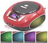 Lauson NXT562 Portable Cd Player | USB | Color Changing Light | Mp3 Player | Small Fm Radio | Cd Boombox with Headphone Jack | Cd Player for Kids | Red