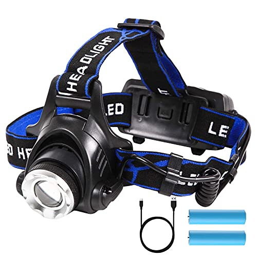 FVSA Rechargeable Led Headlamp Flashlight 1100 Lumen, 10000mah 3 Lighting Patterns Adjustable Zoom Head Lamp, Head Flashlight for Running Camping Fishing Outdoor, Father day Gifts for Men Dad husbands
