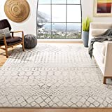 Safavieh Tulum Collection TUL270A Moroccan Boho Distressed Non-Shedding Stain Resistant Living Room Bedroom Area Rug, 8' x 10', Ivory / Grey