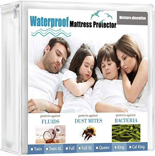 wyewye Queen Mattress Protector Waterproof Mattress Encasement Bed Mattress Cover Bedwetting Cooling and Breathable, Noiseless and Vinyl Free Mattress Protector (Queen)