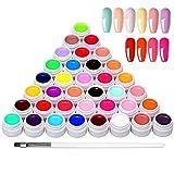 36 Colores Esmaltes Semipermanentes de Uñas, Esmaltes Semipermanentes, Gel Uñas Juego de Pigmentos para Uñas, Poli Gel UV Esmalte Pegamento...