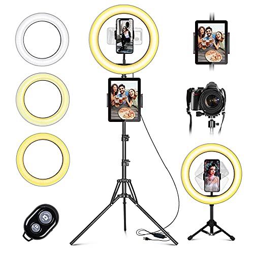 Ring Light Luce ad Anello Led da 10' con Treppiede Luce per Selfie con Telecomando Wireless, con 3 Modalit di illuminazione e 10 Luminosit per Youtube, TikTok, Streaming live, Trucco e video