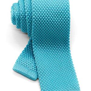 WANDM Men's Knit Tie Slim Skinny Square Necktie Width 2.2 inches Washable Solid Color