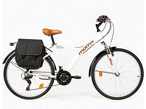 Moma Bikes, Bicicletta Ibrida SHIMANO, Alluminio, 18 velocit, Ruota da 26', con Sospensione, Bianco