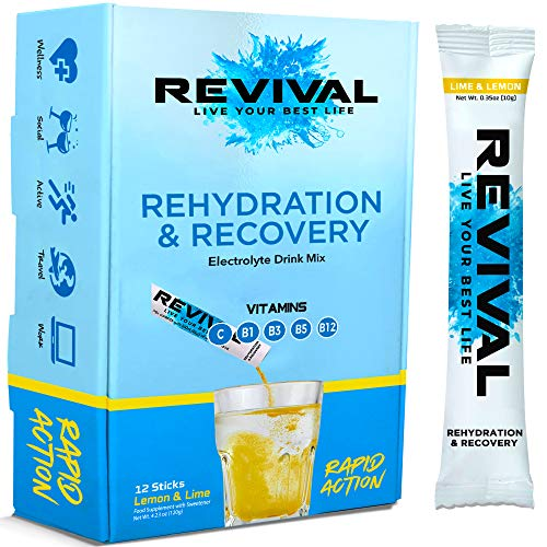 Revival Rapid Rehydration Electrolytes Powder - High Strength Vitamin C, B1, B3, B5, B12 Supplement Sachet Drink, Effervescent Electrolyte Hydration Tablets - 12 Pack Lemon Lime