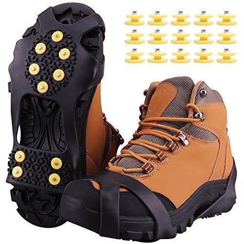 Fesoar Schuhspikes,Schuhkrallen Steigeisen für Schuhe im Winter mit einem 15er-Pack Ersatz-Schneespikes für Damen,Herren und Kinder(Schwarz, L)