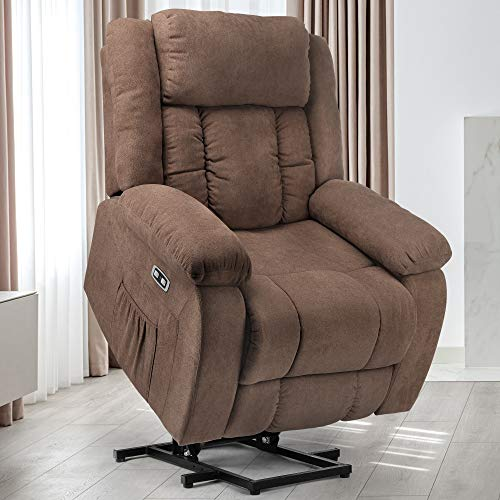 YITAHOME Power Lift Recliner Chair for Elderly, Lift Chair with Heat and Massage, Ergonomic Fabric Recliner Chair Sofa with 2 Side Pockets & Remote Control for Living Room (Coffee)