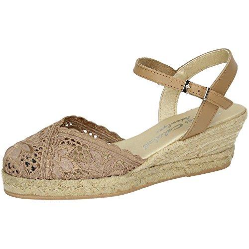 TORRES 5004 Zapatillas DE Encaje Mujer Alpargatas Camel 40