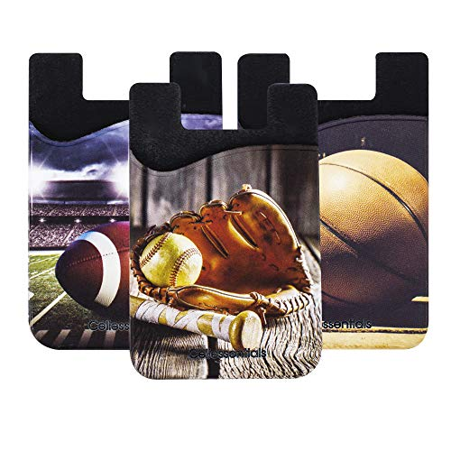 Cellessentials Card Holder for Back of Phone - Sports Themed Silicone Stick on Cell Phone Wallet with Pocket for Credit Card, ID, Business Card - iPhone, Android and Most Smartphones - 3 Pack