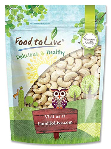 Raw Cashews, 1 Pound – Deluxe Whole Nuts, Unsalted, Unroasted Fancy Snack, Size W-320, Kosher, Vegan, Bulk, A good source of Magnesium, Phosphorus, Copper & Manganese