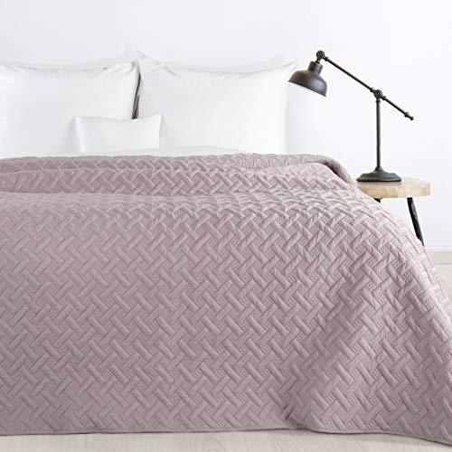 Design91 Tagesdecke Alara Gesteppter Bettüberwurf Einfarbig Steppung 3D Geometrisches Muster Ganzjährig (Altrosa, 220 x 240 cm)