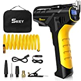 SKEY Tire Inflator - Cordless Tire Inflator 150PSI Cordless Portable Air Compressor,Handheld Air Pump with 12V DC Car Adapter,Rechargeable Battery,Digital Pressure Gauge