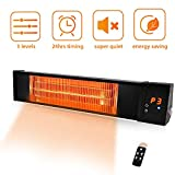 TRUSTECH Patio Heater - Adjustable 1500W Infrared Heater, Electric Heater w/1s-Fast Heating & Remote Control, 24H Timer Overheat Protection, Super Quite Space Heater in/Outdoor