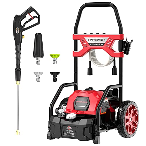 POWERWORKS 2000 PSI 1.2-GPM Electric Pressure Washer,for Car/Decking/Window(Black&Red)