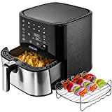 COSORI Stainless Steel Air Fryer (100 Recipes, Rack & 5 Skewers), 5.8Qt Large Air Fryers XL Oven Oilless Cooker, Preheat/Alarm Reminder, 9 Presets, Nonstick Basket, 2-Year Warranty, ETL Listed