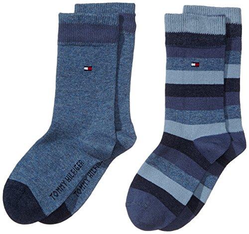 Tommy Hilfiger - Th Kids Basic Stripe Sock 2 Paia, Calze per bambini e ragazzi, blu(blau (jeans 356)), taglia produttore: 35-38