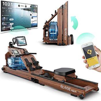 Bluefin Fitness Blade Aqua W-1 | Rameur à Eau électrique | 100% Bois de frêne | Rameur Pliable pour Usage à Domicile | Ecran LCD + Moniteur de Rythme Cardiaque | Intégration de l'application Kinomap