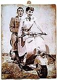 KUSTOM ART Tableau de style vintage Gregory Peck et Audrey Hepburn dans le film Vacances...