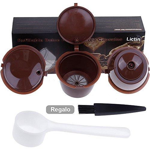 Lictin Capsule per caffè ricaricabili capsule dolce gusto, 3 tazze +Cucchiaio di plastica + Spazzola i cafilas